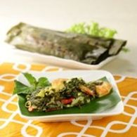 pepes udang kombinasi daun singkong